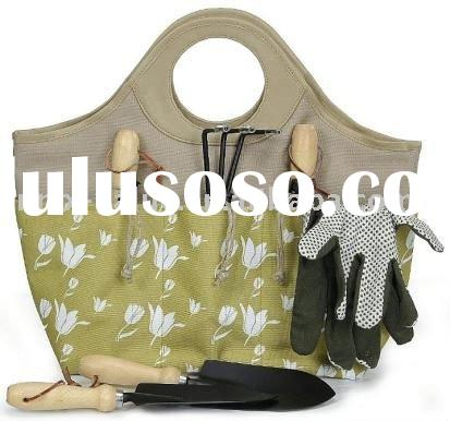 Garden Tote with Hand Tools and Gloves