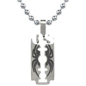Inspired TitaniumBrushed-finish Razor Blade with Black Spider Pendant on a Stainless Steel Ball Chai