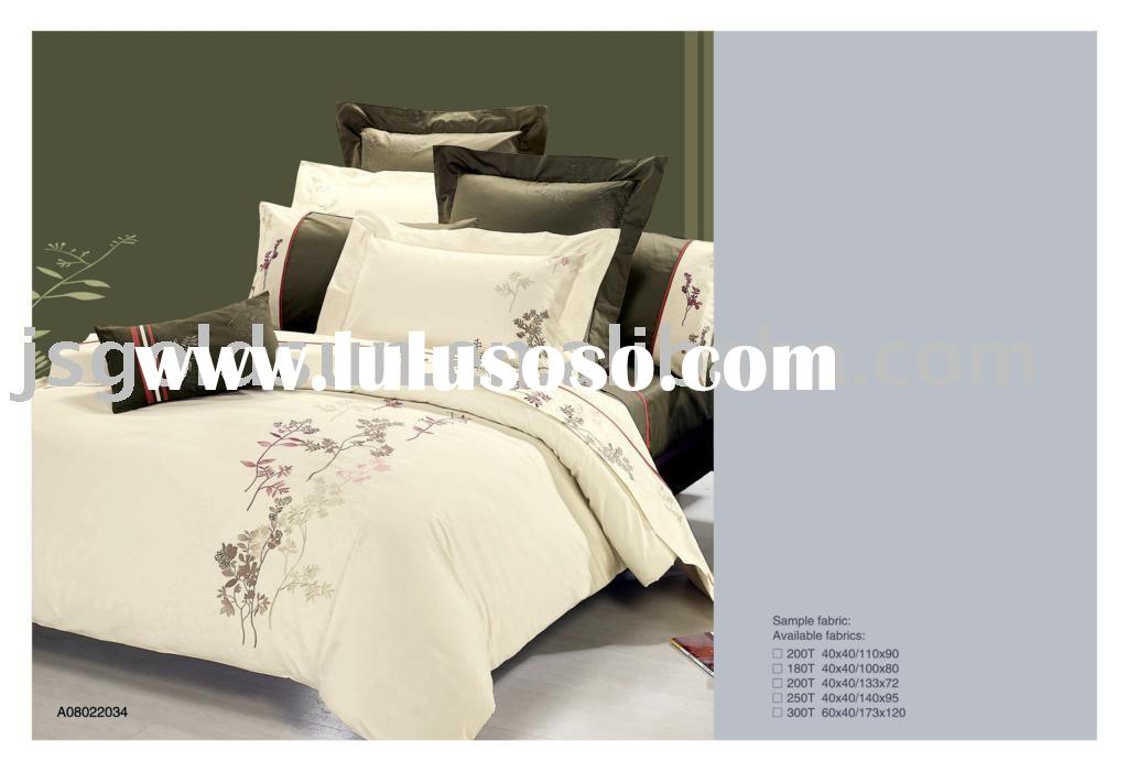100% cotton embroidery bedding sets/duvet cover/fitted sheet/bed sheet/flat sheet/bed cover/bedsprea