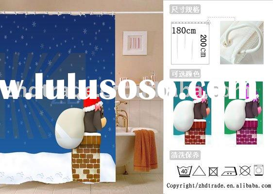 100%printed polyester shower curtain