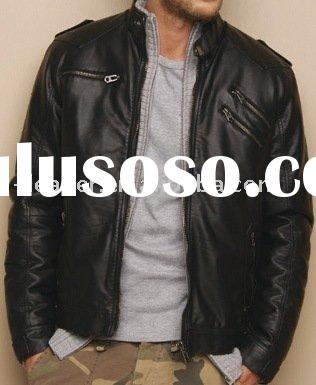 2011 men's casual long sleeve fake leather  jackets