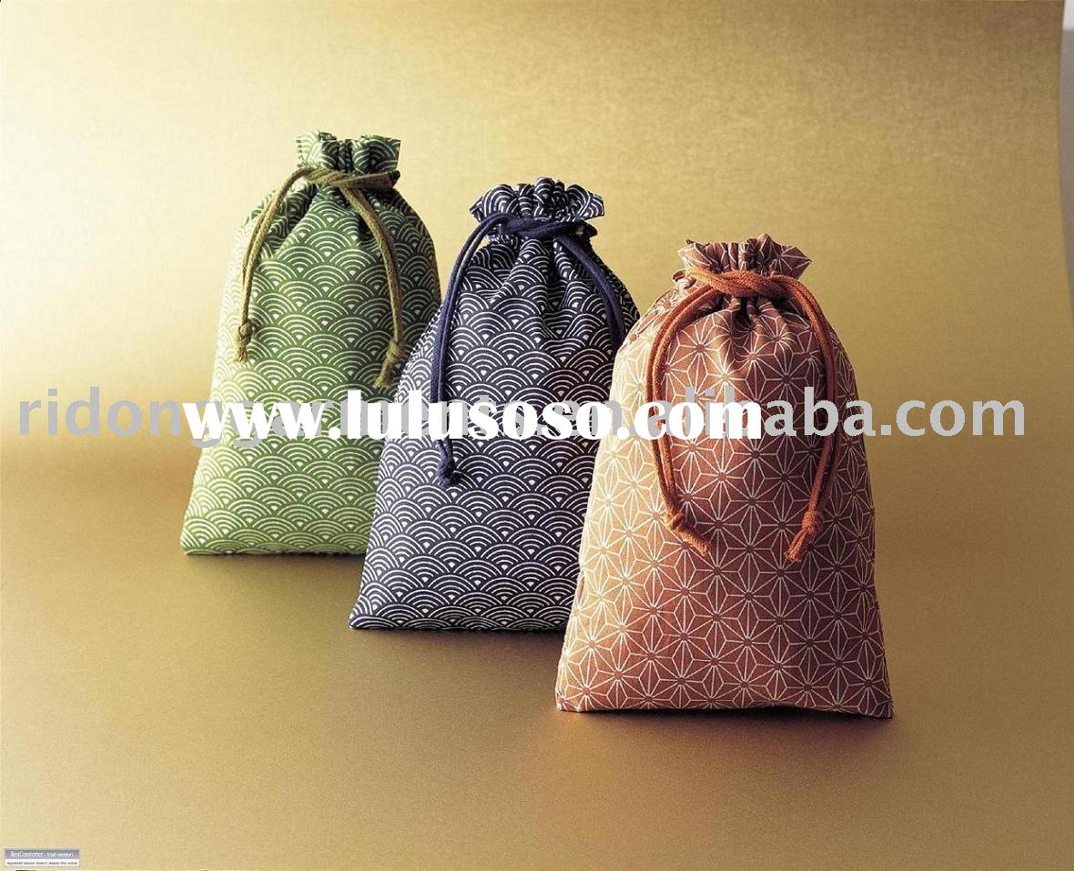 Japanese Style Print Cloth Cotton Drawstring Pouch Bag