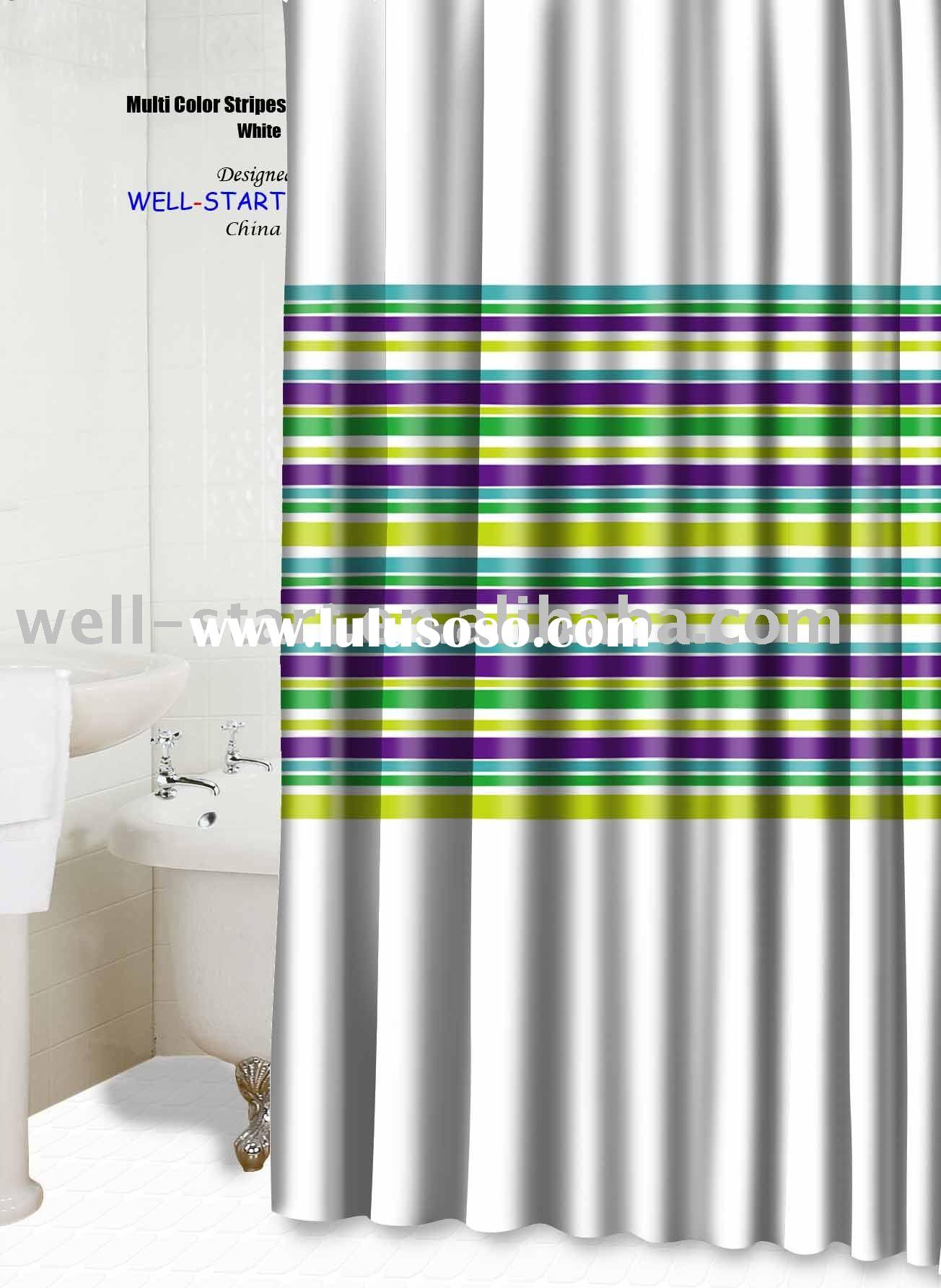 Multi color stripes white polyester fabric shower curtain