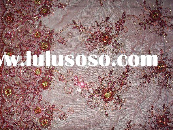 Red Flower Embroidered Fabric