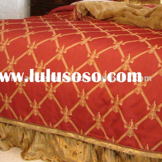 SHL-DUV-QN QUEEN SIZE red and gold jacquard duvet cover