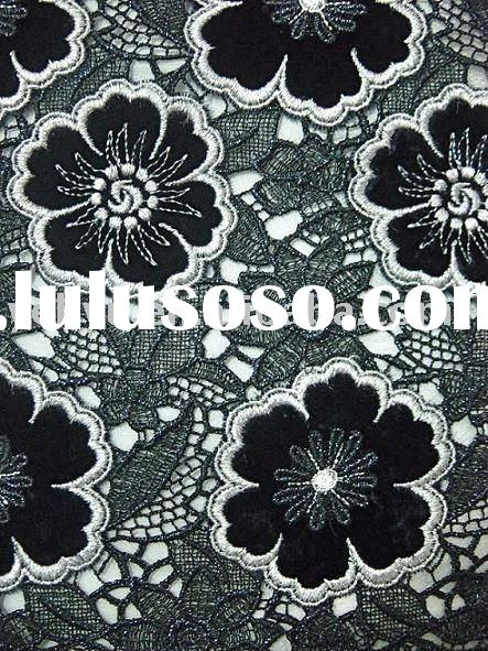 black floral embroidery lace curtain fabric