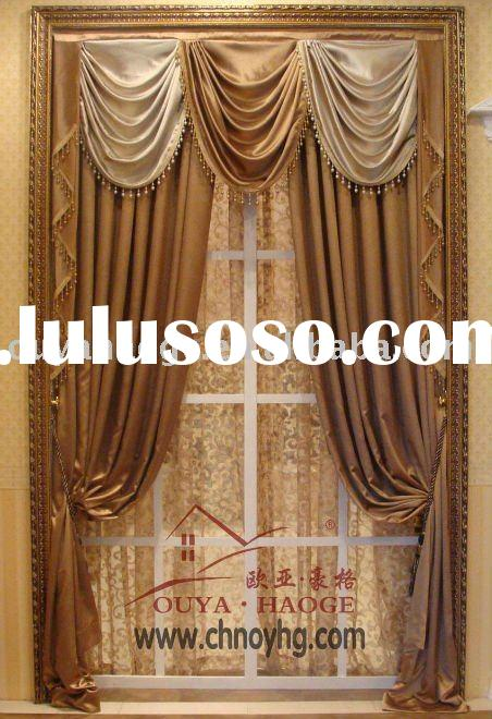 black-out embossing polyester window curtain(GJ10303-3)