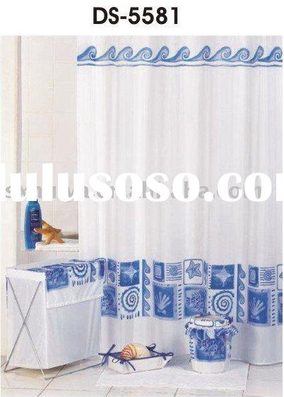 blue and white bathroom curtain