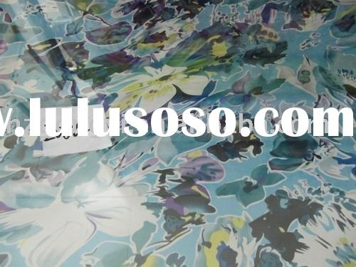 butterfly flower design silk chiffon fbric/pure silk cloth fabric hand painting