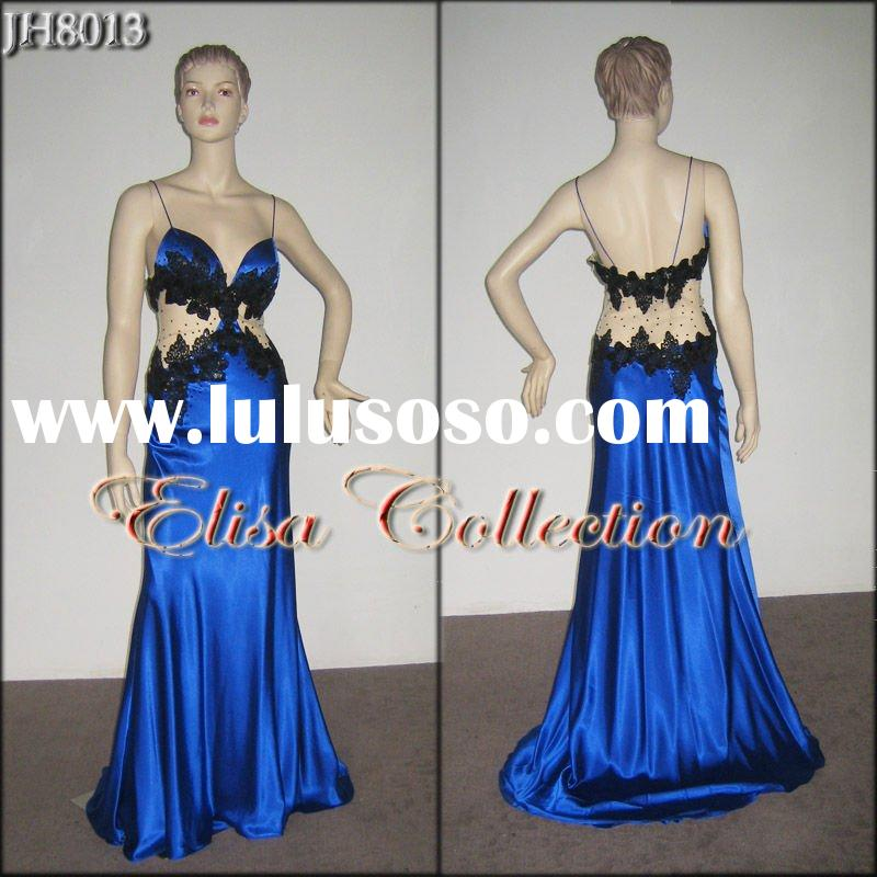embroidered 100%silk satin evening gown