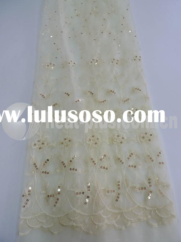 embroidered sheer fabric organza spangle sequin embroidery  curtain fabric280CM ezb41