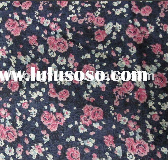 fashion print slub denim fabric D-LY 061