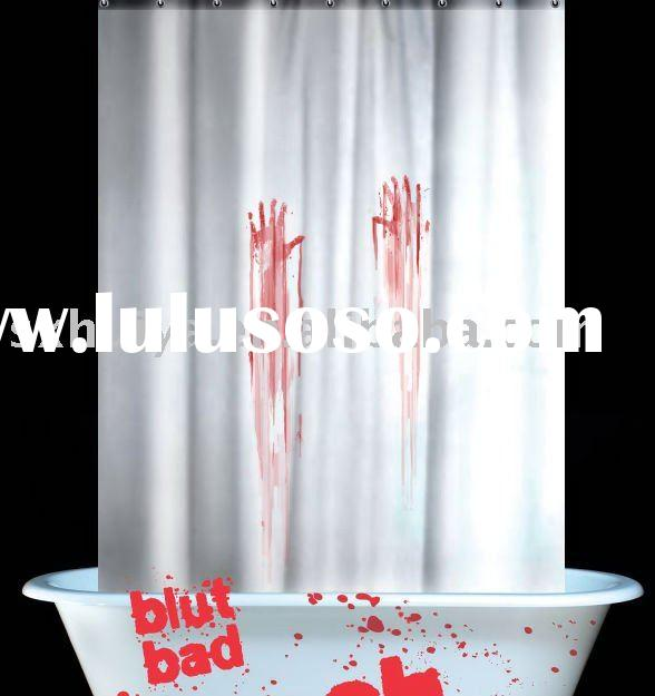 horrible polyester white blood shower curtain