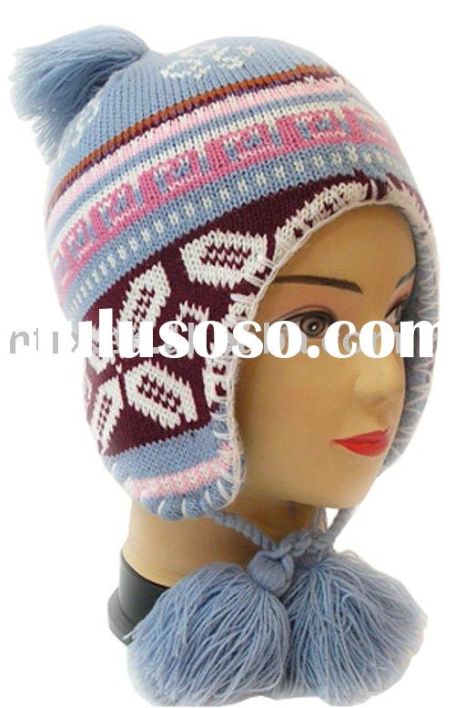 jacquard knitting hat with earflaps