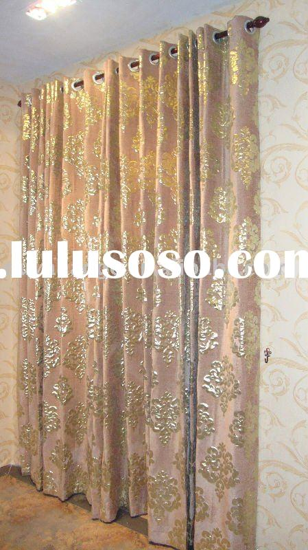 jacquard polyester gold window  curtain