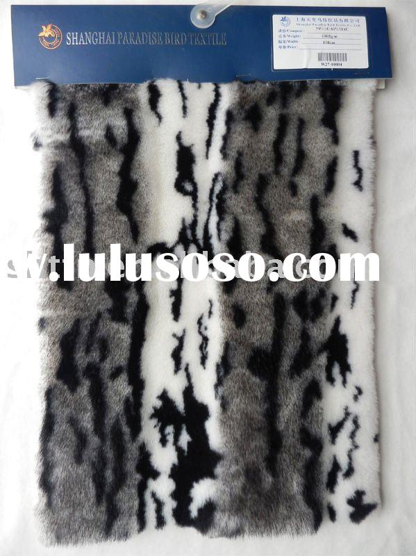 long pile fake wool jacquard plush fabric for garment