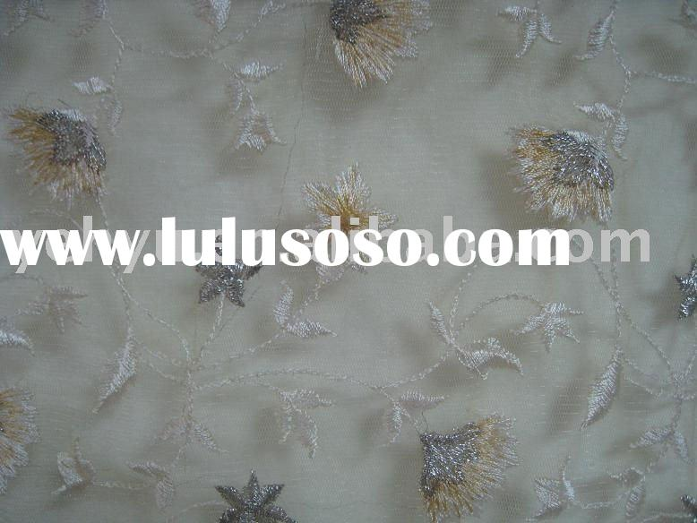 metallic floral embroidered organza fabric