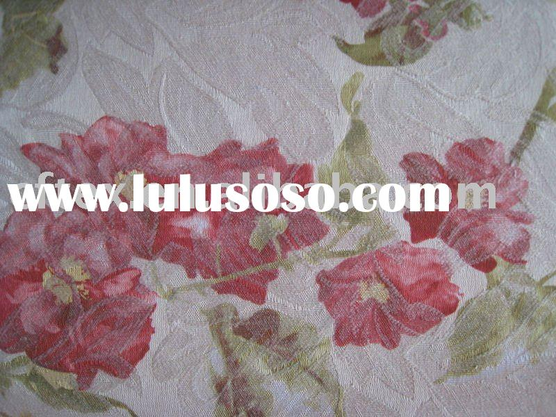 polyester cotton flower printed jacquard curtain fabric