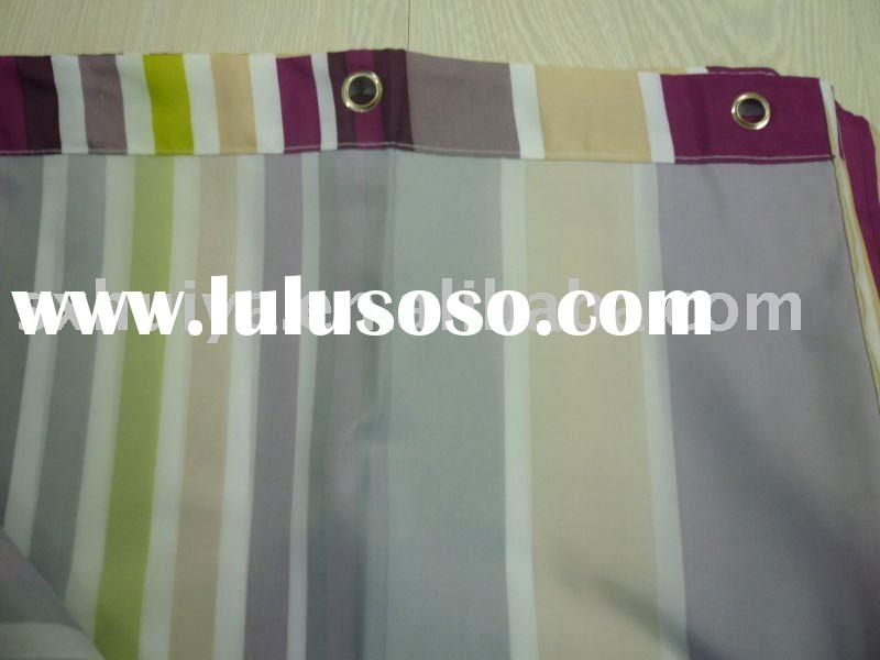 polyester stripy hookless shower curtain