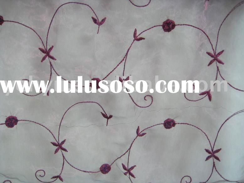 red flower silk embroidered fabric