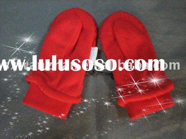 100% polyester polar fleece red windproof gloves