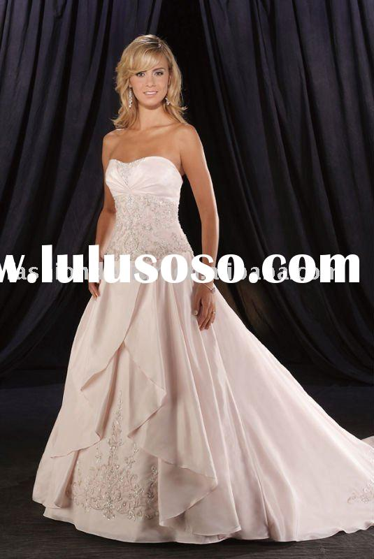 2010 light pink silk satin lace embroidery beaded wedding dresses,custom made bridal wedding gowns