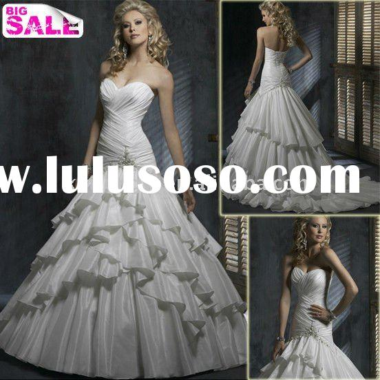 2011 Hot Sale Elegant Appliqued Beaded Lace Wedding Dress