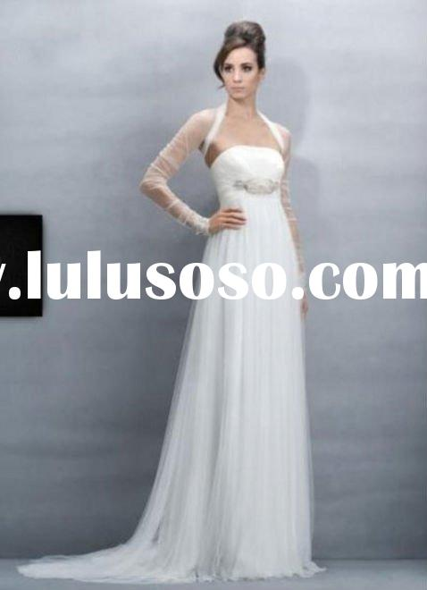2011 new on sale dual material stain rufffe a line strapless ruffle layered wedding dress lyd004