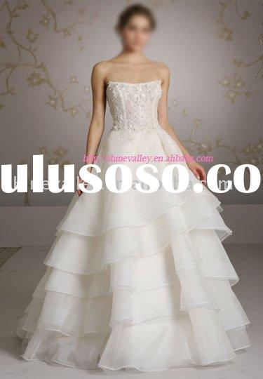 3062 organza tiered ball bridal gown,with embroidered and beaded alencon lace,custom size and color