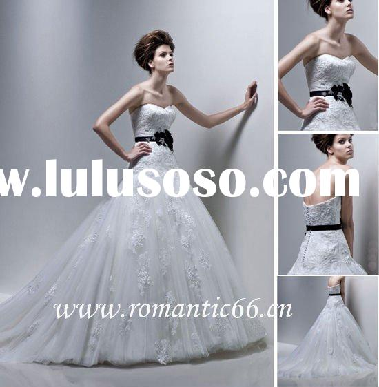 Discount puffy tulle black flower bridal gown 2011