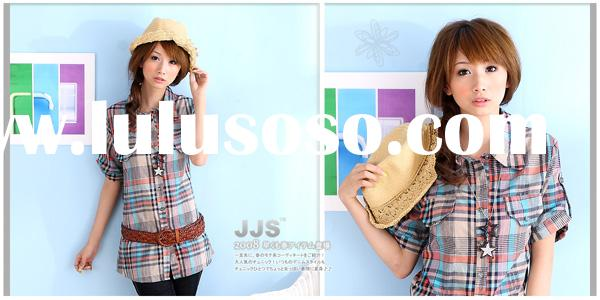 Fashion clothes Casual wear Latest Korea / Japan Fashionable lapel short sleeves blue cotton check f