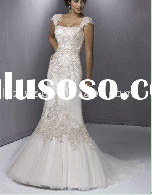 Fashion lace beading mermaid applique floor-length satin skirt organza wedding dress for bride YT101