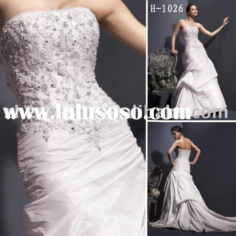 H-1026 zhenzhen taffeta bridal gown with Alencon lace and beading