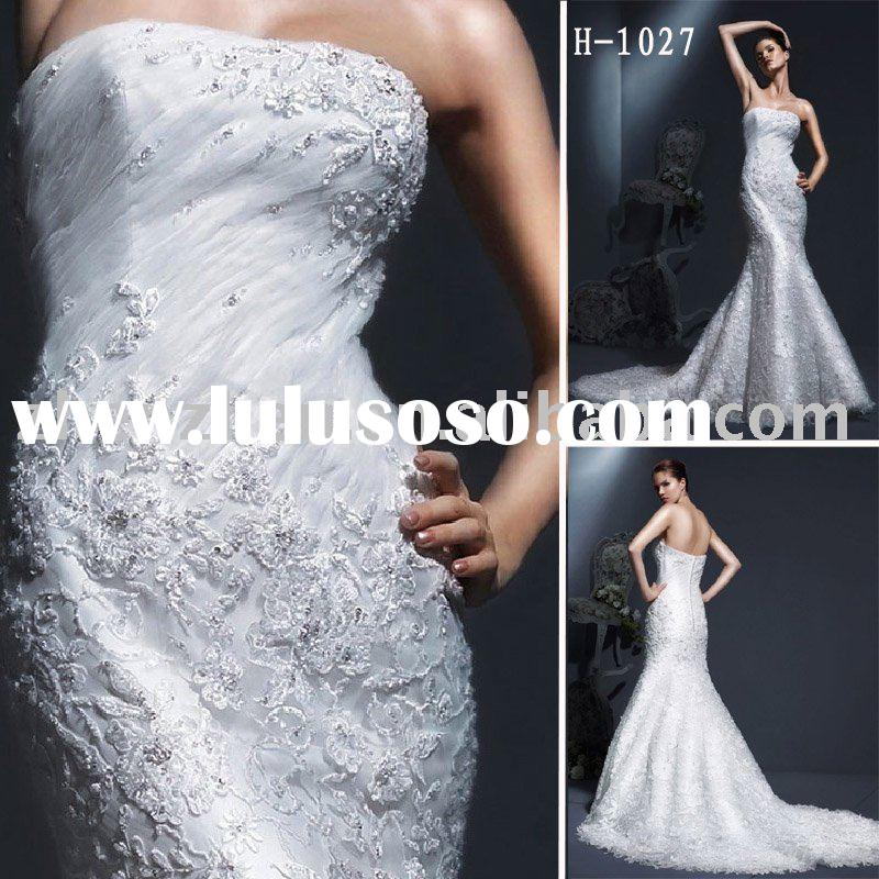 H-1027 zhenzhen fish tail wedding dress made by soft net with Alencon lace and beading