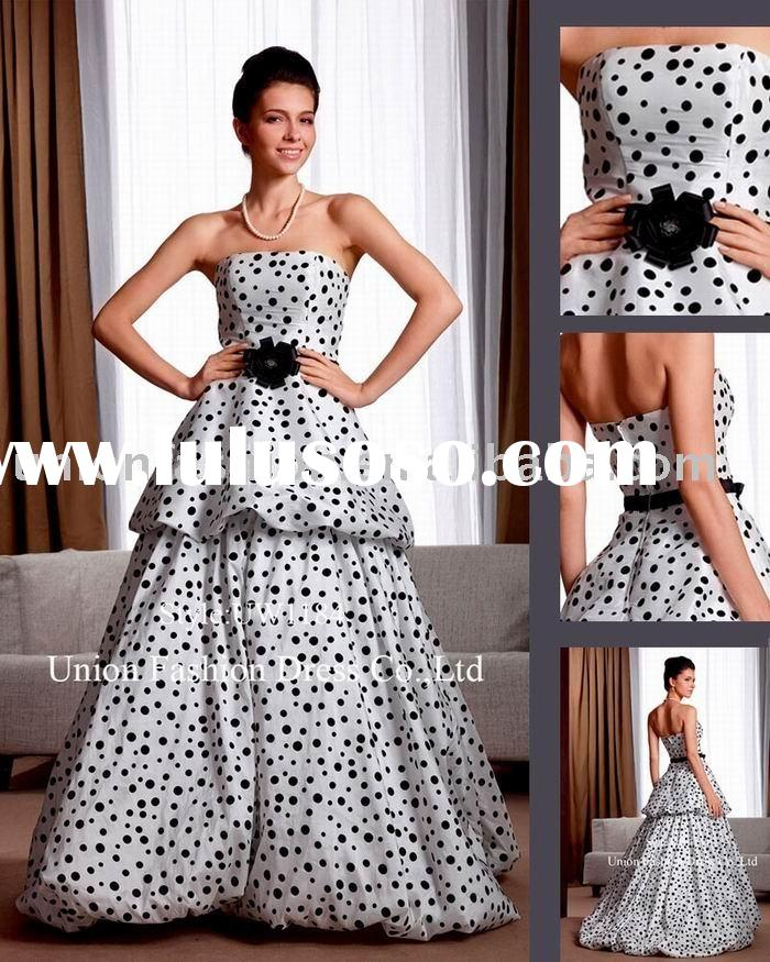 Ivory with black dots taffeta Wedding dress UW1184 decorated with black beaded&handmade flower b
