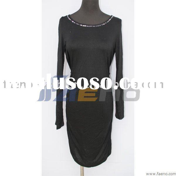Ladies' 100% cotton long sleeve dresses