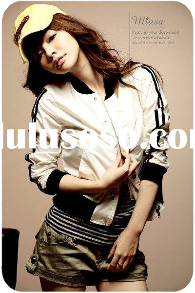 Lady  Designer clothes Refreshing Autumn Special Style Sweet Baseball Sports Jacket White R80104