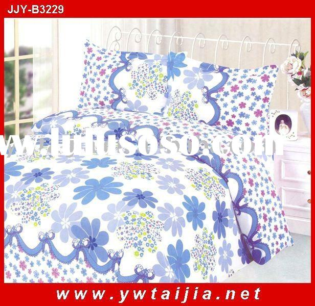 Latest design-blue flowers printed polyester fabric beddding sets home textile