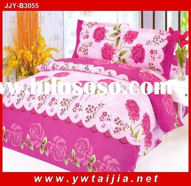 Morden style pink printed polyester bed cover
