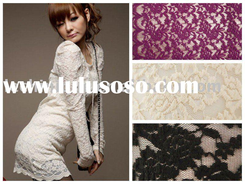 NYLON COTTON STRETCH LACE FABRIC