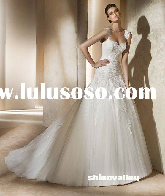 PV508 Tulle Beading Lace Puffy Bridal Gown