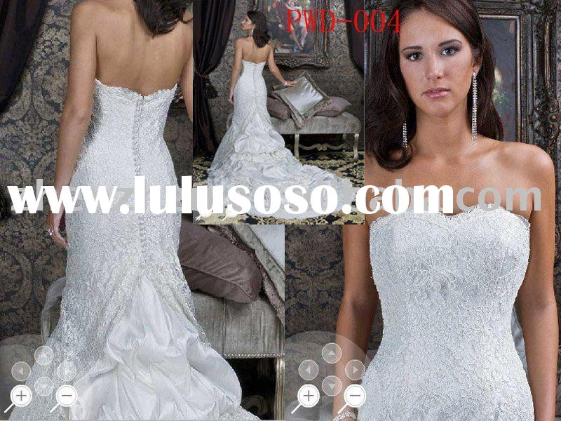 PWD-004  zhenzhen heart-shaped neckline Alencon lace bridal gown with satin button on back