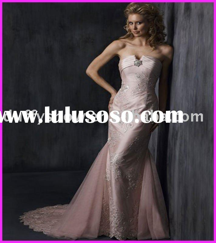 Pink top grade lace fabric wholesale bridal dress