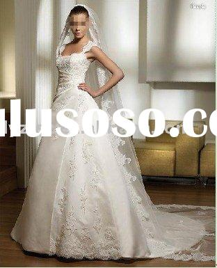 Popular ivory embroidery A-line lace beading floor-length chapel train satin weddind dress for bride