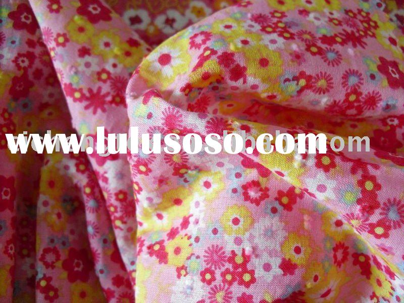 baby clothing fabric, flower printed, 100% cotton swiss voile fabric