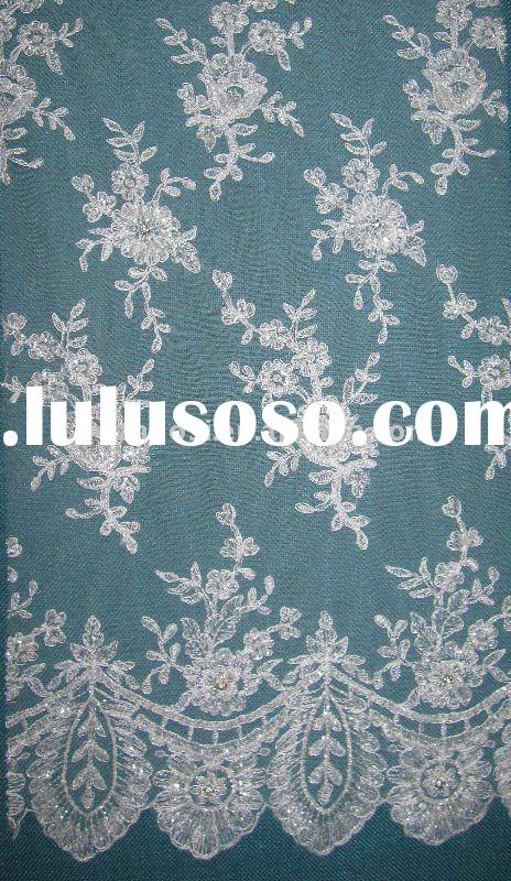 beaded voile lace fabric for wedding/bridal dress