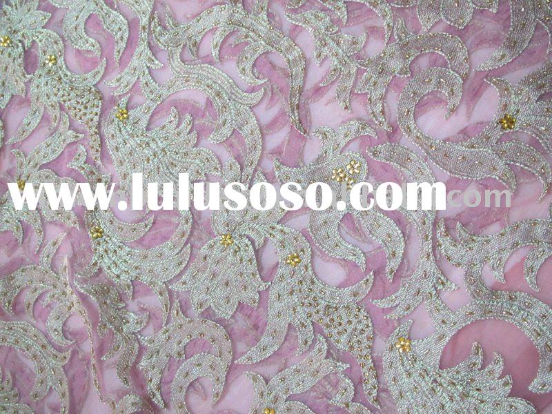 high quality net fabric with beaded hand embroidery