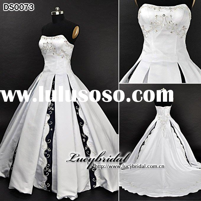 low price satin beaded embroidered wedding dress DS0073