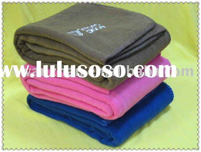 polar fleece blanket with embroidery logo