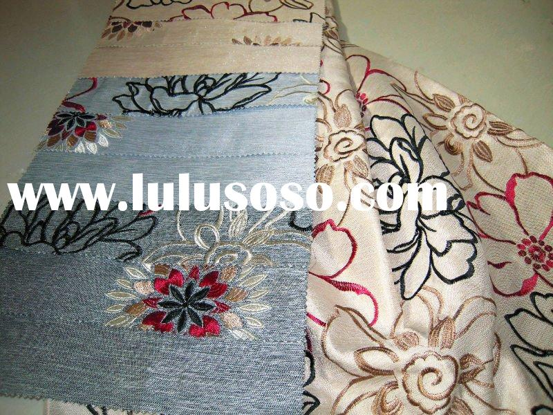 polyester embroidered curtain fabric, home textile fabric